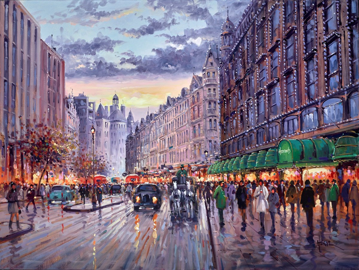 Brompton Road, Knightsbridge by henderson cisz -  sized 40x30 inches. Available from Whitewall Galleries